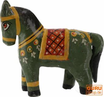 Deko Pferd, im Antik- look bemalt - grün