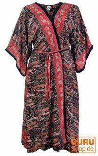 Langer Kimono im Japan Style, Kimono Mantel, Kimonokleid - schwarz