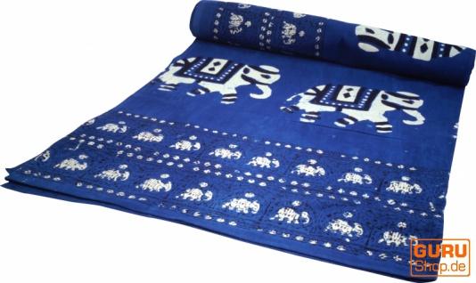 Blockdruck Tagesdecke, Bett & Sofaüberwurf, handgearbeiteter Wandbehang, Wandtuch - indigo Elefant