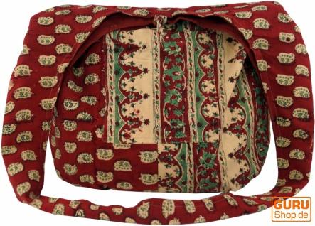 Sadhu Bag, Umhängetasche, Blockdruck Hippie Schultertasche - rot/paisley