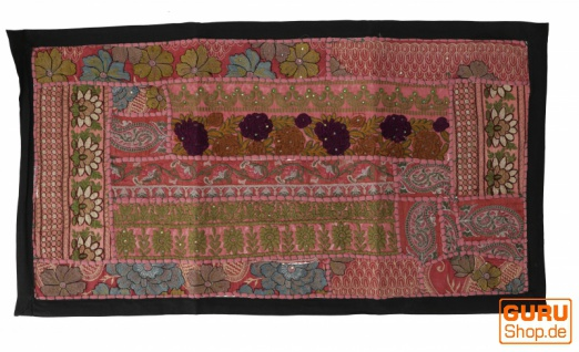 Indischer Wandteppich Patchwork Wandbehang, Tischläufer, Einzelstück 85*45 cm - Muster 2