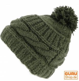 Beanie Mütze aus Schurwolle, Bommelmütze, Pudelmütze - olivgrün
