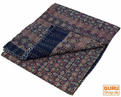 Quilt, Steppdecke, Tagesdecke Bettüberwurf, Besticktes Tuch, Indischer Bettüberwurf, Tagesdecke - Muster 34