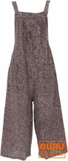 Sommerliche Latzhose, Ethno Style Boho oversize Einteiler, Overall - dunkelbraun