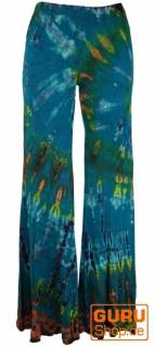 Batik Leggings mit Schlag, Boho Schlaghose - türkis