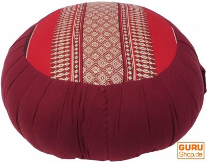 Rundes Meditationskissen Yoga Kissen, Sitzkissen, Bodenkissen, Dekokissen - rot/grau