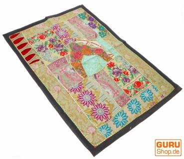 Indischer Wandteppich Patchwork Wandbehang/Tischläufer Einzelstück 90*65 cm - Muster 6