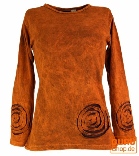 Langarmshirt Spirale - rostorange/orange
