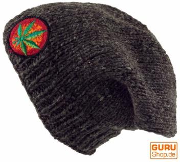 Beanie Mütze, braun bestickte Nepalmütze Hanfblatt - braun Mütze, c4b635