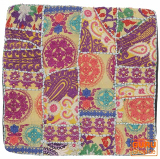 Patchwork Kissenhülle, Dekokissen Bezug aus Rajasthan, Einzelstück - Muster 25