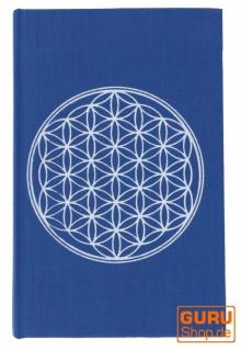 Notizbuch, Tagebuch - Blume des Lebens blau