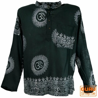 Hare Krishna Mantra Shirt, Goa Hippie Hemd - schwarz