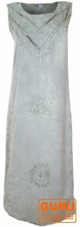 Besticktes Boho Sommerkleid, indisches Hippie Kleid, hellgrau - Design 5
