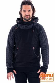 Pullover mit Kapuze aus Bio-Baumwolle / Chapati Design - black