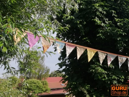 Saree Wimpel Girlande, 2 m Wimpelkette - beige - Vorschau 2