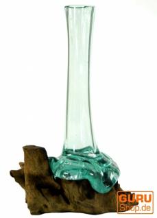 Vase aus Recycelingglas, Glasvase Wurzelholz - M10