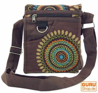 Kleine Schultertasche, Hippie Tasche, Goa Tasche - braun