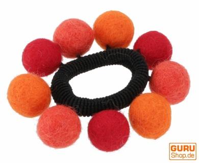 Haargummi `Filzkugel` - orange/rot