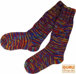 Handgestrickte Schafwollsocken, Haussocken, Nepal Socken - regenbogen