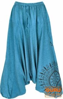 Haremshose Pluderhose, Pumphose mit Mandala, Aladinhose aus Baumwolle - blau