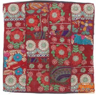 Patchwork Kissenhülle, Dekokissen Bezug aus Rajasthan, Einzelstück - Muster 37