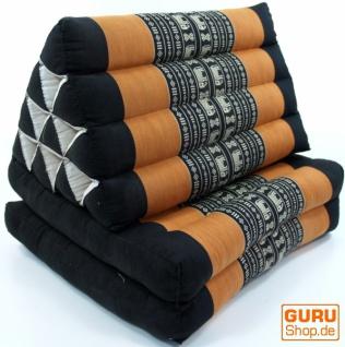 Thaikissen, Dreieckskissen, Kapok, Tagesbett mit 2 Auflagen - schwarz/orange