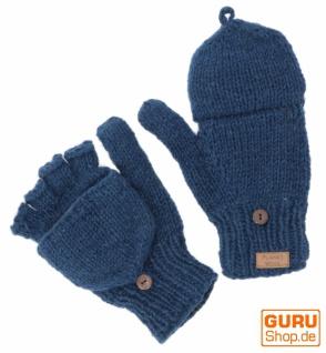 Handschuhe, handgestrickte Klapphandschuhe uni - blau
