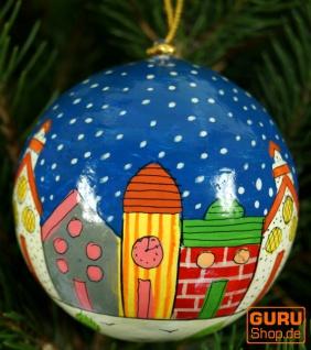 Upcyceling Weihnachtskugel aus Pappmachee, Handbemalter Christbaumschmuck, Kaschmirkugeln - Muster 32