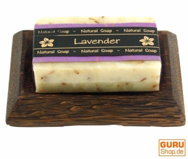 Exotisches Seifenset, Seife & Kokosholz Seifenschale - Lavender 1