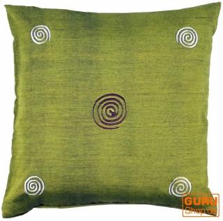 Retro Kissenhülle, Kissenbezug, Dekokissen - kleine Spirale grün