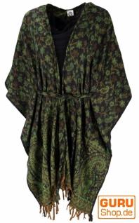 Flauschiger Kimono Mantel, Kimonokleid, Kaftan - grün/schwarz