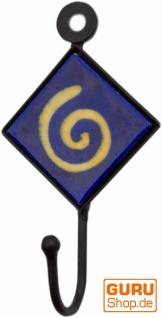 Wandhaken, Garderobenhaken mit handgefertigter Fliese (4*4 cm) - Modell 3
