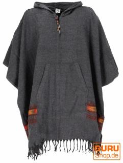 Poncho Hippie chic, warmer Andenponcho - anthrazit