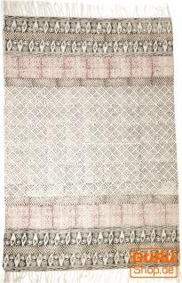 Handgewebter Blockdruck Teppich aus natur Baumwolle mit traditionellem Design - Muster 25