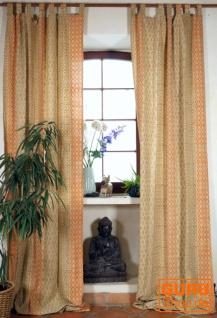 Boho Vorhänge, übherlange Gardine (1 Paar ) mit Schlaufen, handbedruckter ethno Style Vorhang - Muster orange