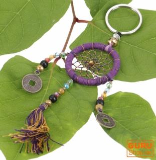 Schlüsselanhänger, Taschenanhänger Traumfänger - violett