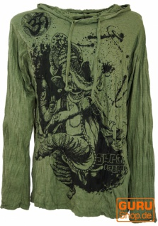 Sure Langarmshirt, Kapuzenshirt Dancing Ganesh - olive