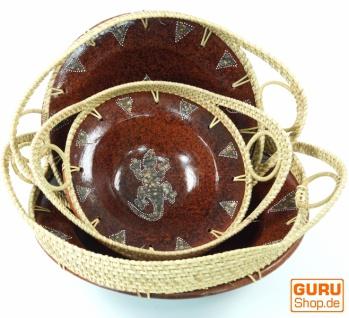 Runde umflochtene Keramikschale, Obstschale, Dekoschale - Design 6