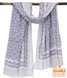 Leichter Pareo, Sarong, handbedrucktes Baumwolltuch - blau Kombination 23