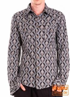 Langärmliges Hemd aus Bio-Baumwolle / Chapati Design - grey lotus