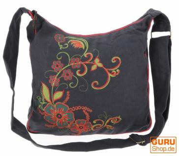 Geräumige Schultertasche, Hippie Tasche, Goa Tasche - schwarz/rot