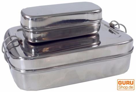 Stabile Edelstahl Brotdose, Frühstücksbox, eco friendly metall Lunchbox, Vesperbox - 2èr Set C