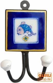 Doppelwandhaken, Garderobenhaken mit handgefertigter Keramik Fliese - Modell 10
