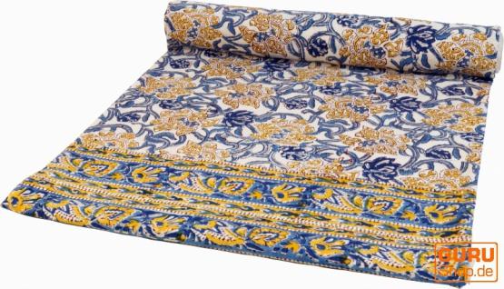 Blockdruck Tagesdecke, Bett & Sofaüberwurf, handgearbeiteter Wandbehang, Wandtuch- blau/gelb Blumen
