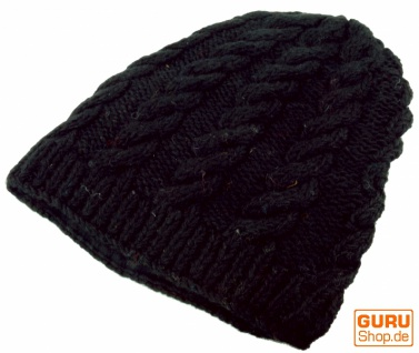 Beanie Mütze, Strickmütze Zopfmuster mit Zopfmuster Strickmütze - schwarz 6e204a