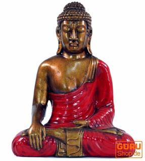 Sitzender Buddha im Bhuimsparsha Mudra aus Recin - rot