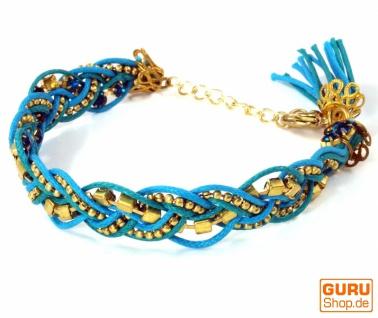 Makrameee- Perlenarmband, Hippie Armband - türkis/blau