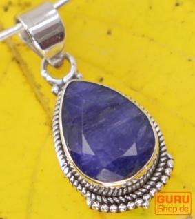 Boho Silberanhänger, Indischer Kettenanhänger aus Silber - Saphir
