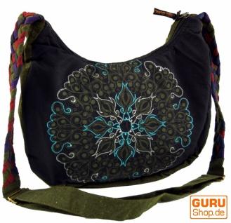 Ethno Schultertasche, BohoTasche Mandala, Nepal Tasche - schwarz