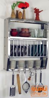 Edelstahl Küchenregal, Wandregal Miniküche mit Ablagefür 11 Teller, 6 Tassen - klein